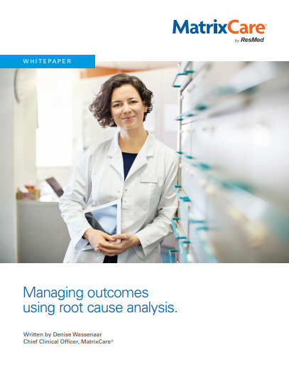 """img src=""""doctor.jpg"""" alt=""""smiling clinician"""" title=""""Managing outcomes using root cause analysis whitepaper by MatrixCare"""""""