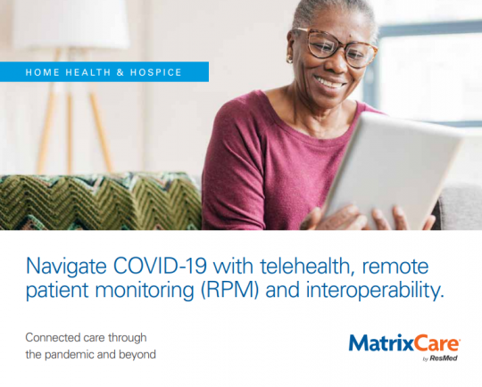 """img src=""""woman.jpg"""" alt=""""Woman using the ipad to send health information"""" title=""""Navigate COVID-19 with telehealth, remote patient monitoring (RPM), and interoperability eBook"""""""